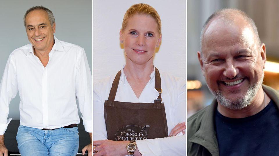 Die TV-Köche Christian Rach, Cornelia Poletto und Frank Rosin