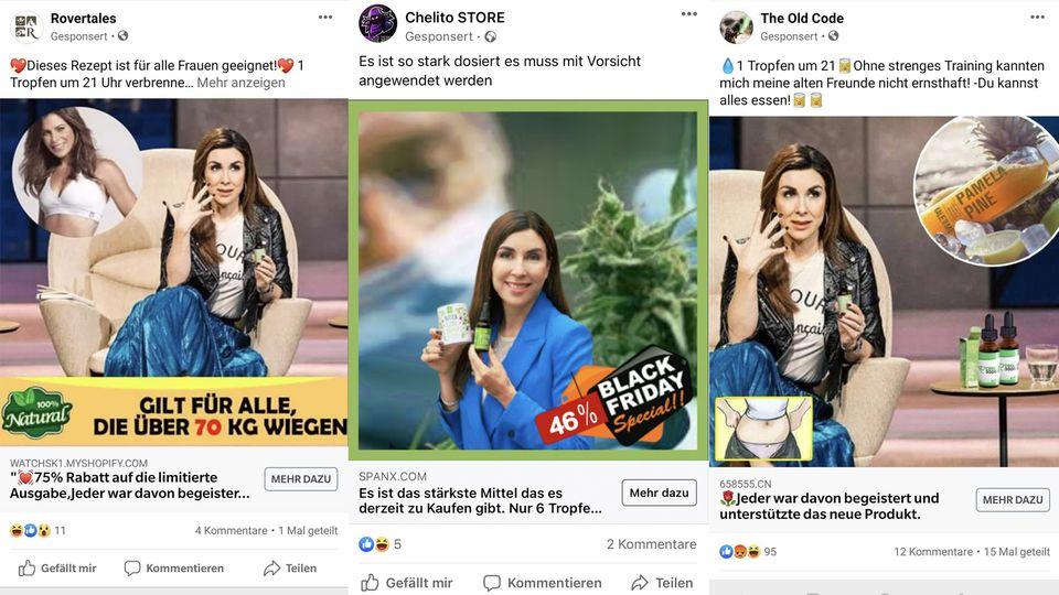 Facebook-Anzeigen mit geklauten Judith-Williams-Bildern