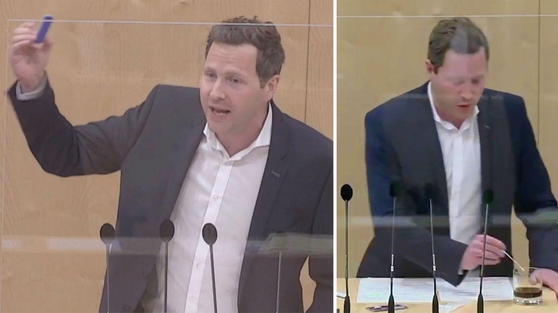 FPÖ-Politiker Michael Schnedlitz macht Corona-Schnelltest mit Cola