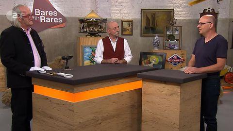 """""""Bares für Rares""""-Experte Albert Maier, Moderator Horst Lichter und Verkäufer Andreas Machner"""