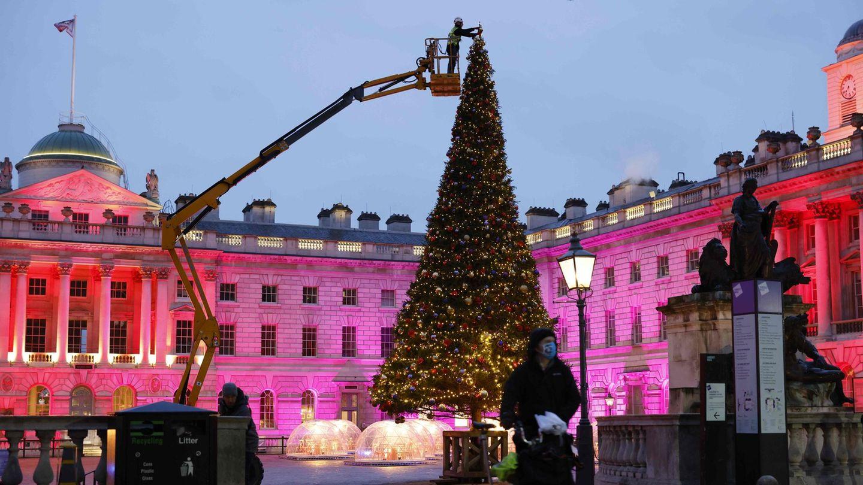 Bild 1 von 20der Fotostrecke zum Klicken:An die Baumspitze letzte Hand anlegen  Mit einem speziellen Kran wird der Weihnachtsbaum im Innenhof des Somerset House in London dekoriert.