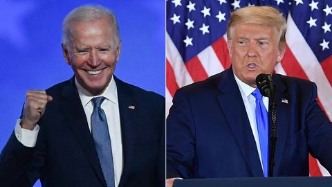 Freude bei dem bestätigten Wahlsieger Biden –trübe Miene bei Trump.