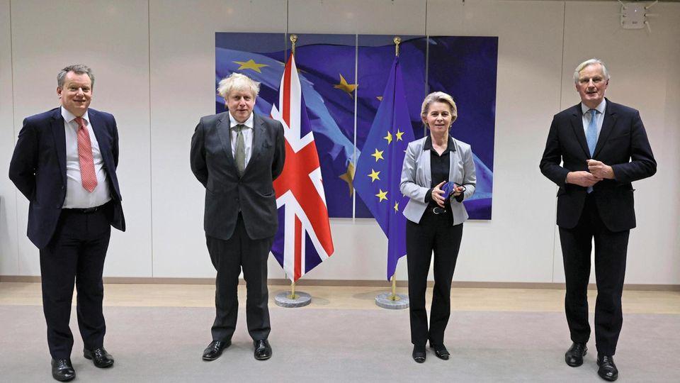 David Frost, Boris Johnson, Ursula von der Leyen und Michel Barnier