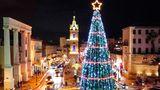 Tel Aviv: Lichterglanz im Heiligen Land  An einem Kreisverkehrin der israelischen Metropole am Mittelmeer glitzert dieser von einem Stern gekrönte hohe Weihnachtsbaum.