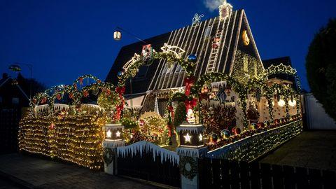 Weihnachtliches Haus der Familie Borchert in Delmenhorst