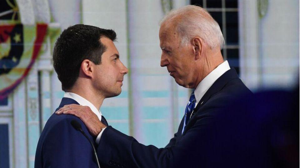 Ehemalige Rivalen: Pete Buttigieg (L) und Joe Biden (R).