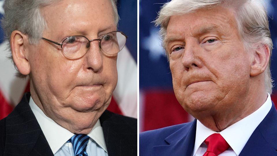 Mitch McConnell,Mehrheitsführer der Republikaner im US-Senat (l.) und der scheidende US-Präsident Donald Trump