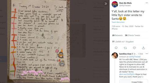 Dieser Wunschzettel einer Neunjährigen geht bei Twitter viral