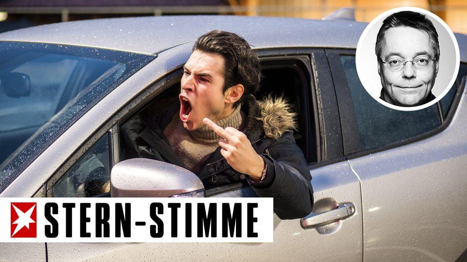 Ein Autofahrer zeigt den Mittelfinger