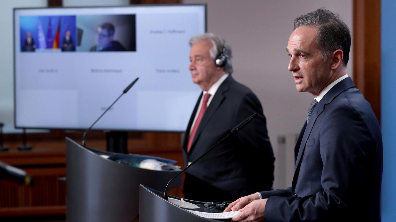 Berlin: UN-Generalsekretär Antonio Guterres und Außenminister Heiko Maas (SPD) geben nach einem Treffen eine Pressekonferenz