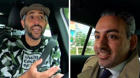 "Der Hamburger SPD-PolitikerDanial Ilkhanipour im ""Alman-Taxi"" mit Michel Abdollahi"
