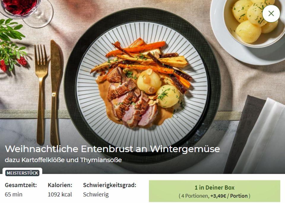 """Das """"Meisterstück"""" von Hellofresh warnt mit dem Hinweis """"schwierig"""" - vier Portionen kosten hier 14 Euro Aufschlag."""