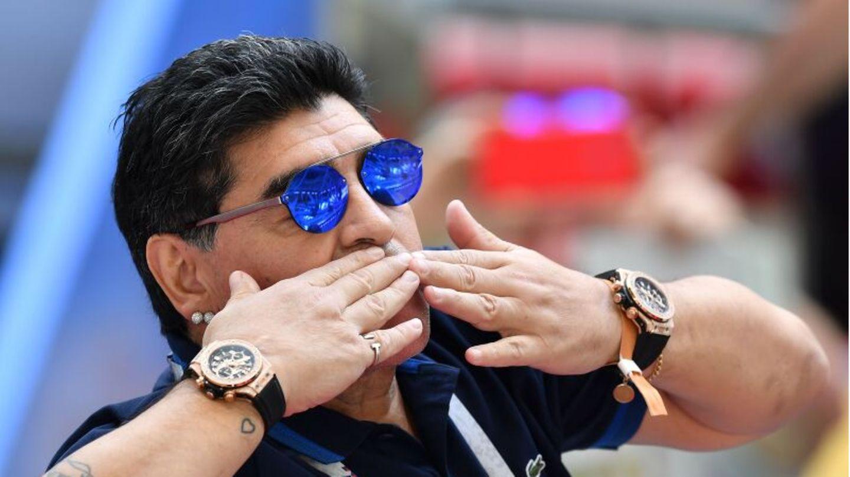 Diego Maradona als Zuschauer bei der Fußball-WM 2018 in Russland