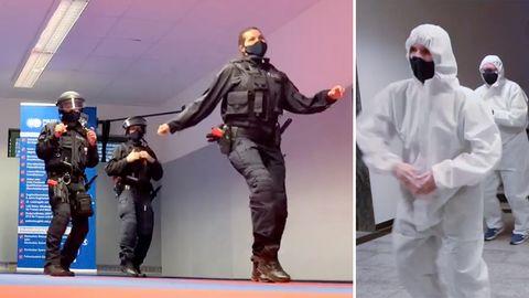 """Mitarbeiter der Polizei im Märkischen Kreis nehmen an der """"Jerusalema Dance Challenge"""" teil."""