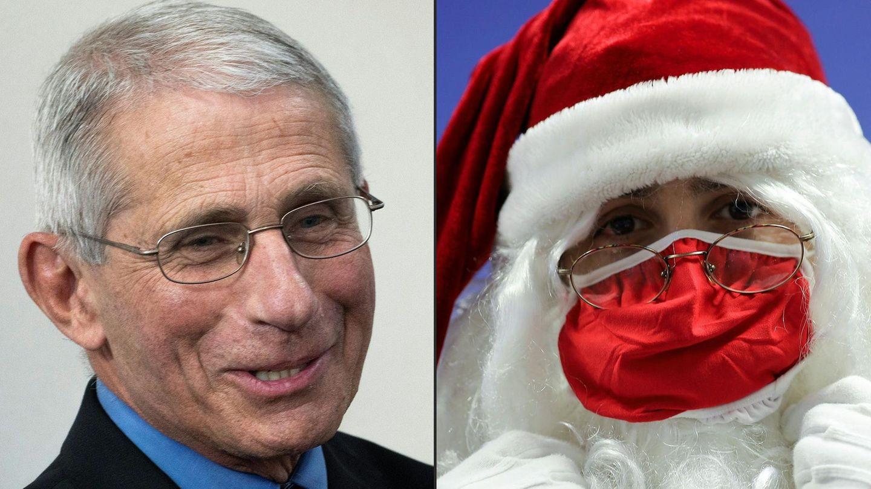 Anthony Fauci, Direktor des Nationalen Instituts für Infektionskrankheiten, und ein als Weihnachtsmann verkleideter Mann