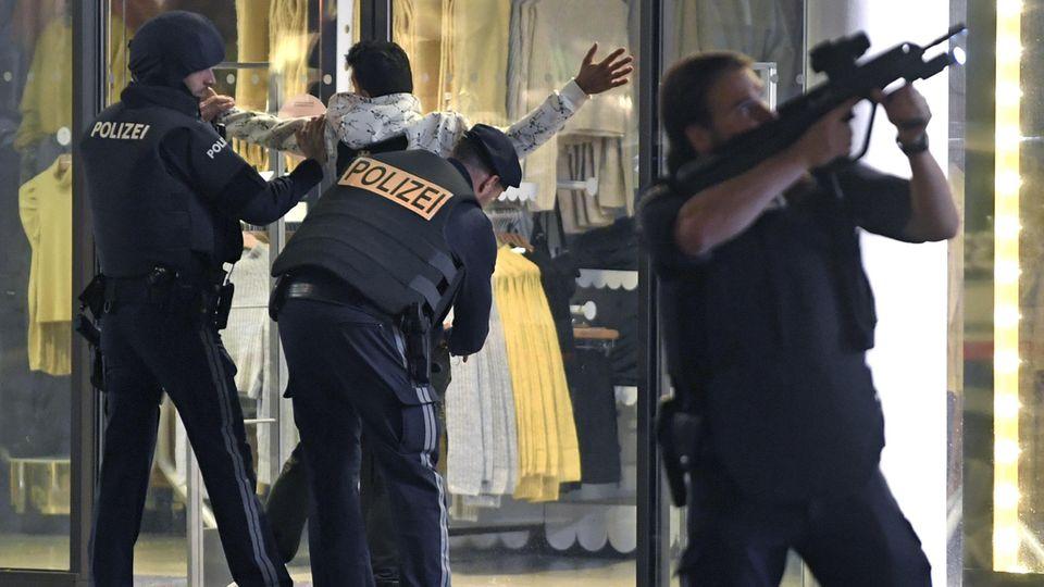 Archivbild:Schwerbewaffnete Polizisten kontrollieren am 2. November in der Wiener Innenstadt eine Person.