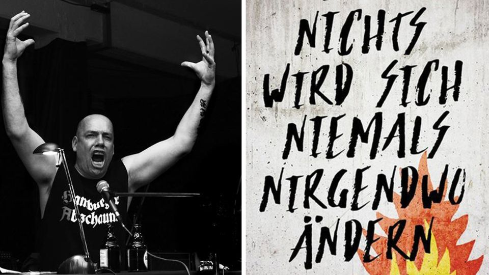 Jan Off mit hochgerissenen Armen in Kombination mit dem Cover seines neuen Romans