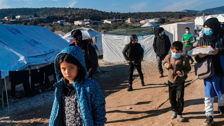 Migrantenim neuen Flüchtlingslager von Kara Tepe auf der Insel Lesbos