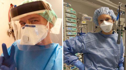 Seit Beginn der Pandemie gehört für sie Schutzkleidung zum Arbeitsalltag: Pflegerin Lilo Barner (L) und Ärztin Dr. Sarah Gschwendtner (R).