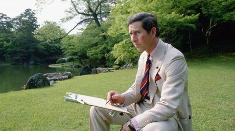 Auf seiner Reise 1986 nach Japan hält Charles zeichnend seine Eindrücke von den kaiserlichen Gärten in Kyoto fest
