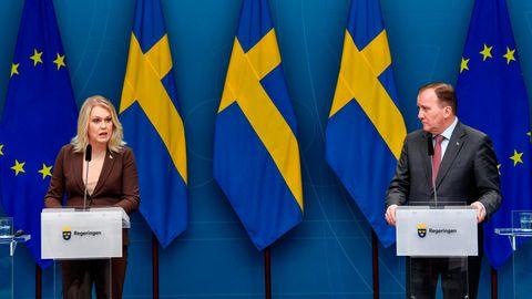 Schwedens Gesundheitsministerin Lena Hallengren (links) und Regierungschef Stefan Löfven bei einer Pressekonferenz (Archivfoto)