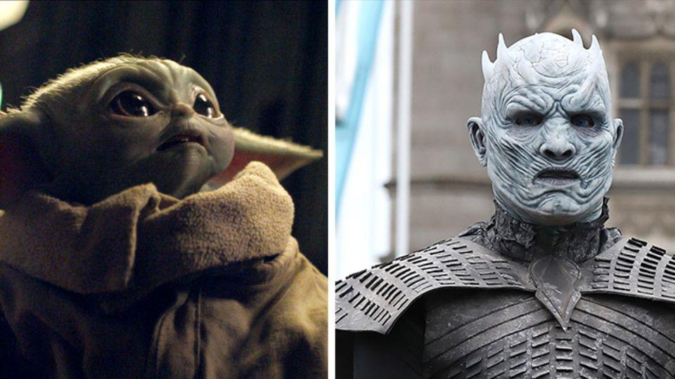 """Links schaut Baby-Yoda aus """"Madalorian"""" mit großen Augen nach rechts oben, rechts reitet ein White Walker aus """"Game of Thrones"""""""