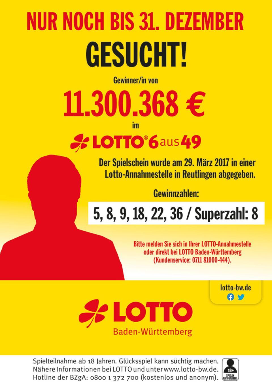 Baden-Württemberg: Reutlinger holt Lotto-Gewinn nicht fristgerecht ab – nun sind 11,3 Millionen Euro futsch