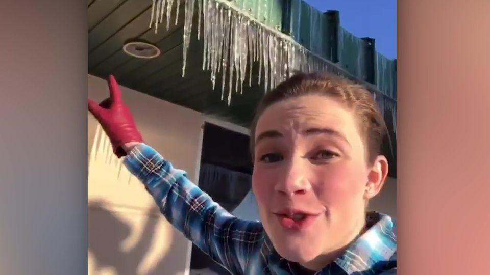 Meteorologin warnt: Darum sollte man lieber keine Eiszapfen vom Dach essen