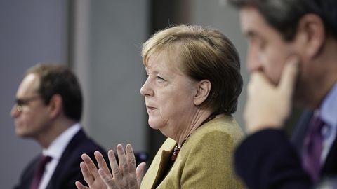 Bundeskanzlerin Angela Merkel, Berlins Regierender Bürgermeister Michael Müller, Bayerns Ministerpräsident Markus Söder