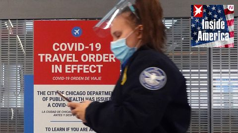Ein Warnschild für Reisende auf dem O'Hare International Airportin Chicago