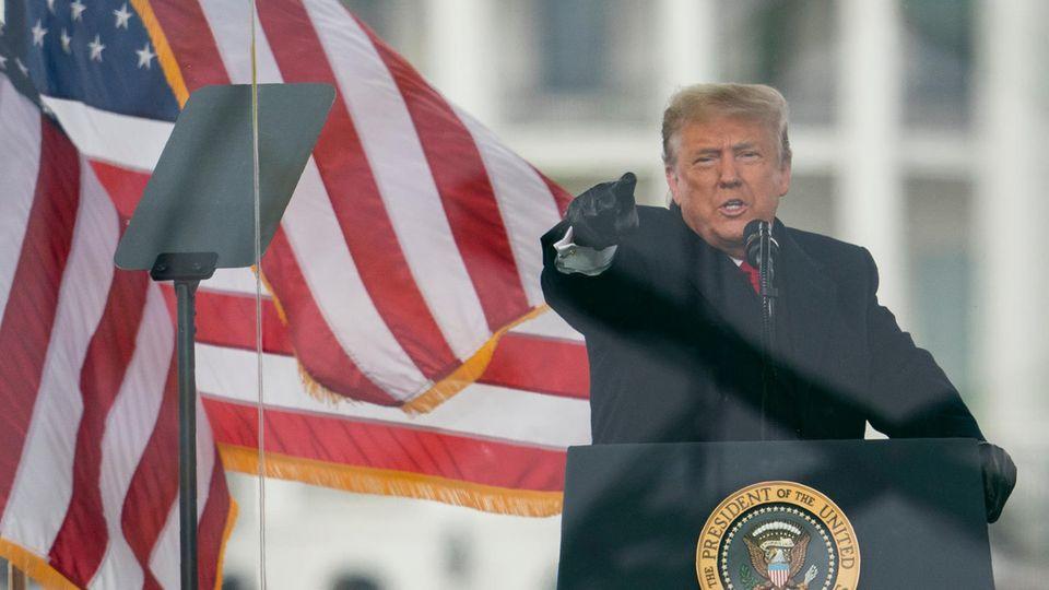 Donald Trump während seiner Rede vor der Erstürmung des Kapitols in Washington