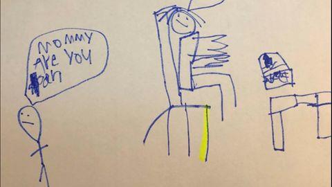 Überfordert in der Corona-Zeit: Eine Zeichnung zeigt die Realität von Eltern und Kindern im Homeoffice