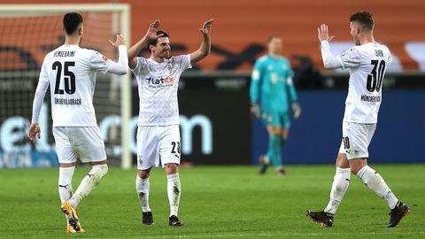 Bundesliga: Borussia Mönchengladbach jubeln über den Ausgleich gegen Bayern München