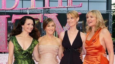 Die US-Schauspielerinnen Kristin Davis (l-r), Sarah Jessica Parker, Cynthia Nixon und Kim Catrall
