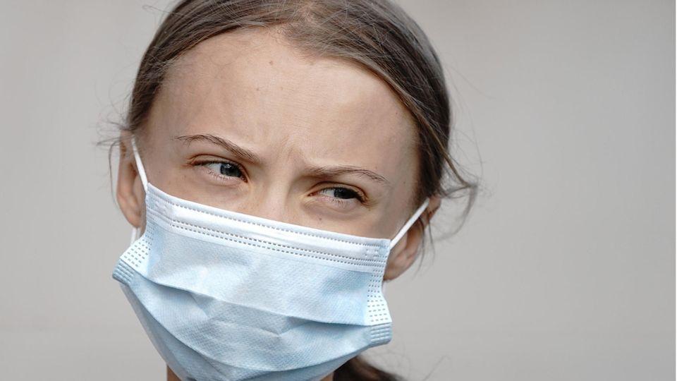 Greta Thunberg mit Gesichtsmaske