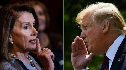 Nancy Pelosi (L) und Donald Trump (R).