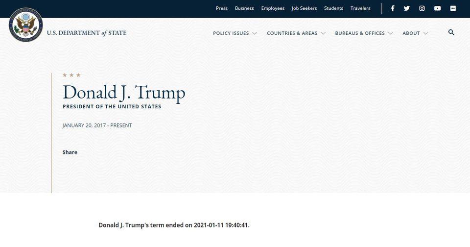 Ein Screenshot von web.archive.org zeigt: Donald Trumps Amtszeit wurde für beendet erklärt