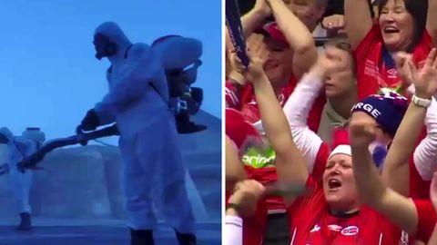 Uwe Gensheimer und leeres Handballstadion in Ägypten