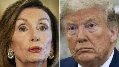 Links ist das Gesicht von Nancy Pelosi zu sehen, rechts das von Donald Trump