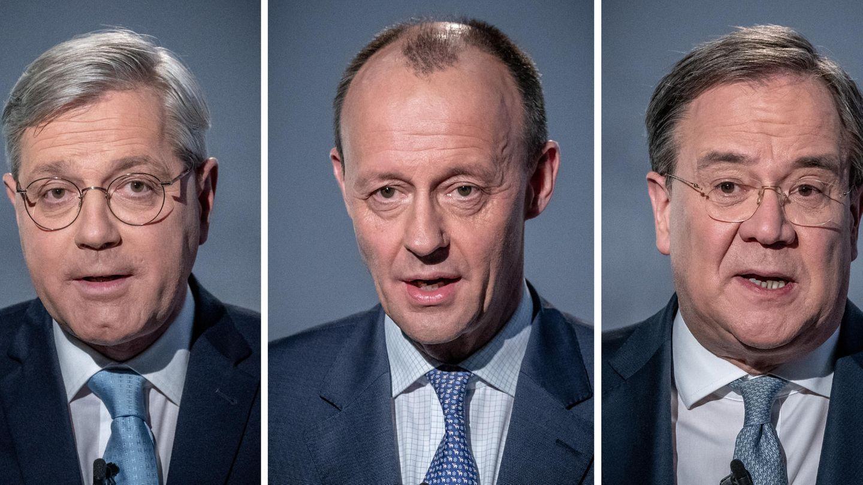 Bildcollage Norbert Röttgen, Friedrich Merz und Armin Laschet