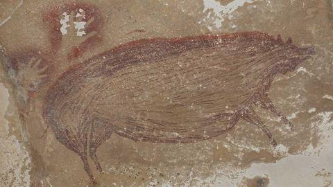 Dieses Schwein ist komplett erhalten, von den anderen Tieren der Komposition haben nur Fragmente die Zeit überdauert.