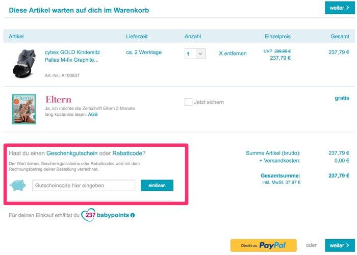 06333ac4f0b38d Anleitung  So müssen Sie Ihren kostenlosen babymarkt.de Gutschein richtig  einlösen