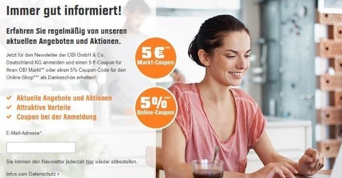 OBI Gutschein August 2019   Gültigen 10% + 5% Rabatt nutzen
