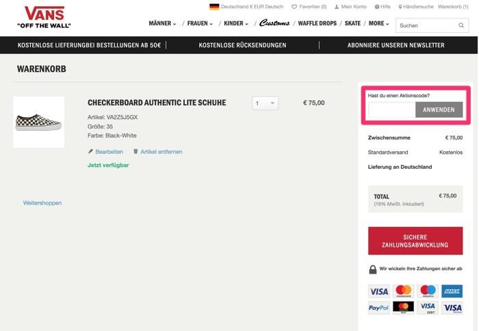 10% Rabatt auf Sale | Vans Gutscheine August 2020