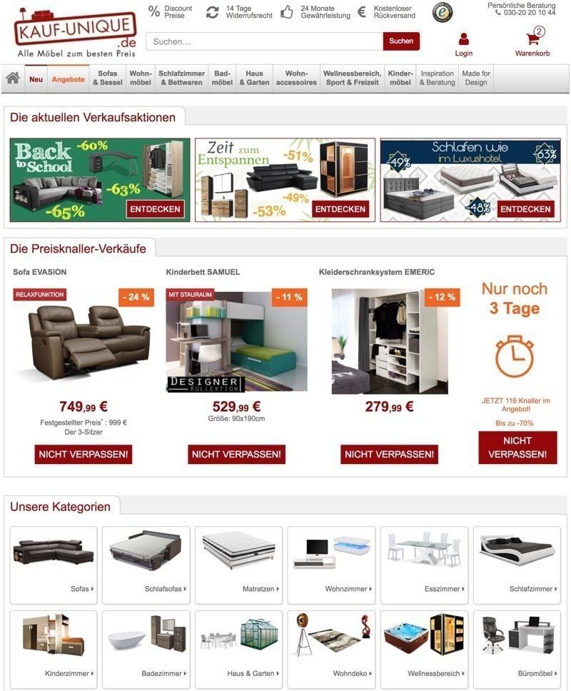 2dea9413640648 Im Fall des Onlineshops Kauf-Unique können Sie auch mit einem echten  Discounter rechnen