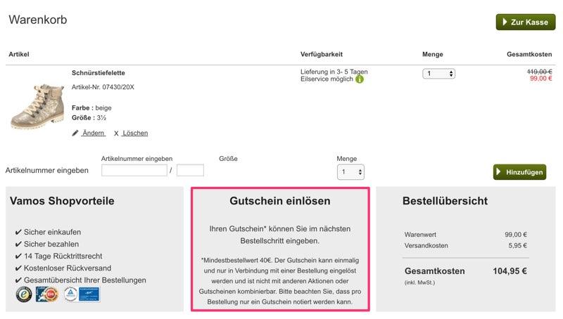Vamos Gutschein | 10€ Gutscheincode + mehr | Februar 2020