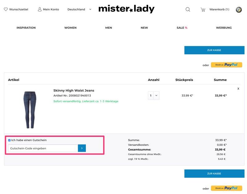 d2788596563aa Mister-lady Gutscheine August 2019 | 10% + 70% Code